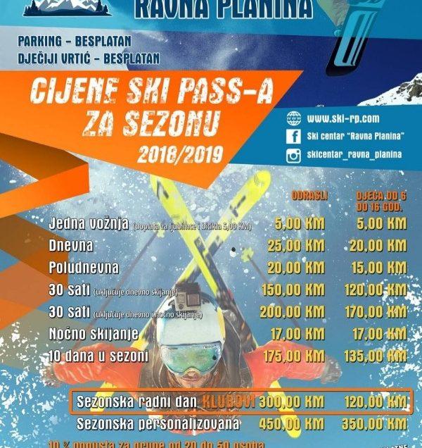 Cjenovnik ski karte ski centar Ravna planina, Gondola ski pass 2018/19